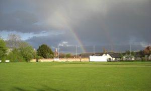 Rainbow over Goatacre cricket ground