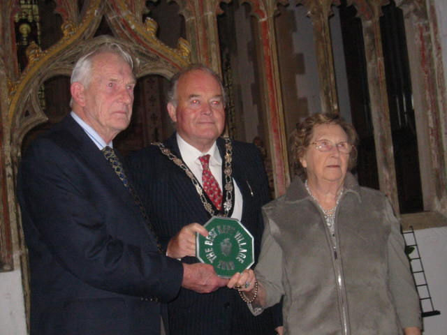 Wiltshire County Council Best Kept Village Plaque Presented by Brigadier R Hall, Chairman of Wiltshire County     Council, to Fred and Janet Jennings