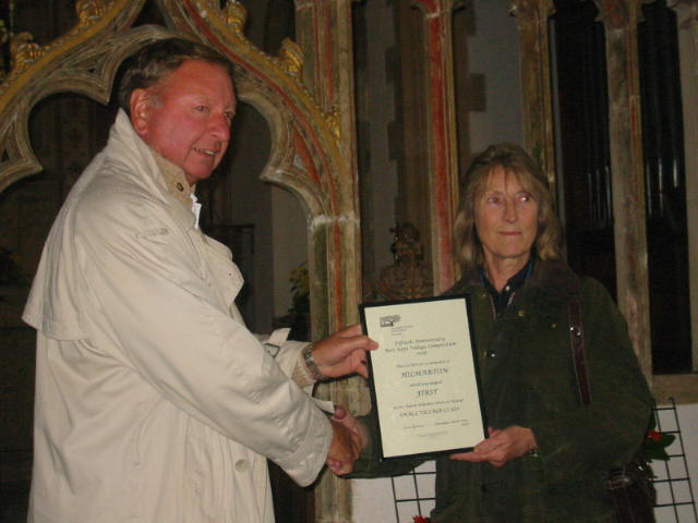 Framed District Round Certificate Presented by Mrs Anne Henshaw, Chairman North Wilts CPRE to Mr G Hudson.